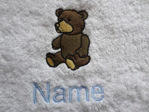 Teddy motif brodé sur les serviettes, peignoirs de bain, à Capuche Avec Personnalisé Nom