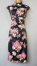 Karen Millen dress wiggle floral print oriental rose Mandarin Bodycon UK 8