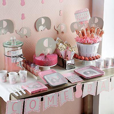 ce415a87ae085 Little Peanut New GIRL BABY SHOWER Party Range (Tableware & Decoration)  Elephant | eBay