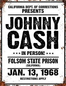 VINTAGE-Johnny-CASH-Country-Prison-Folsom-Blues-Music-Metal-BAR-MAN-CAVE-Sign