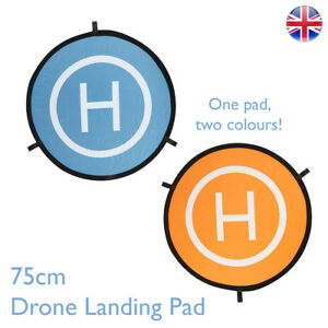 75cm-Drone-Landing-Pad-Blue-Orange-Colour-for-RC-Drones-Helipad-UK-Stock