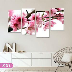 Fiori pesco 4 Quadro su tela 152x78 stampa rosa bianchi camera letto ...
