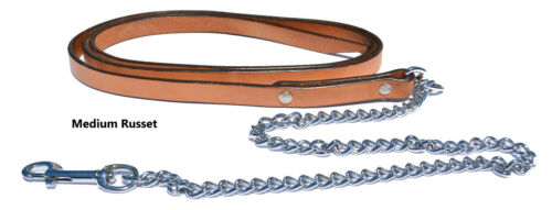 """3//4/"""" Leather Horse Lead with 30/"""" Fine Link Chain Made in The U.S.A."""