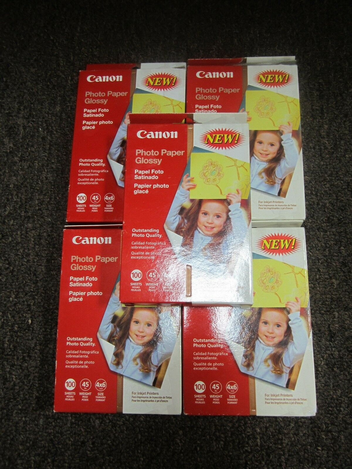 LOT OF 5 x Canon Photo Paper Glossy Inkjet 100 Sheets 4x6 size