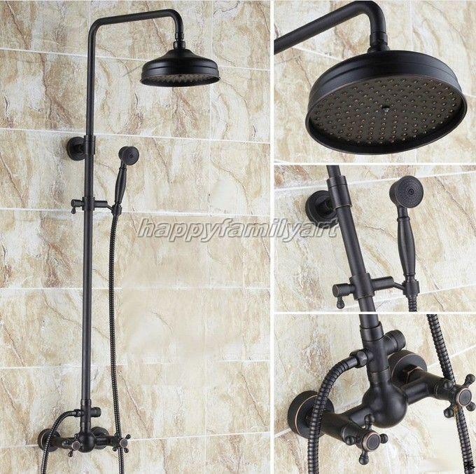 Nero lucidato olio ottone bagno precipitazioni doccia rubinetto Set Mixer Tap yrs047