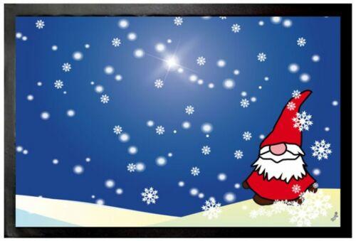 60x40cm Weihnachten #101452 Wichtel Im Schnee Winternacht Fußmatte Türmatte