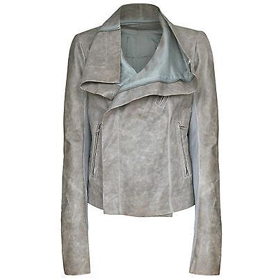 RICK OWENS $2,200 distressed beige gray lamb leather motorcycle biker jacket 48
