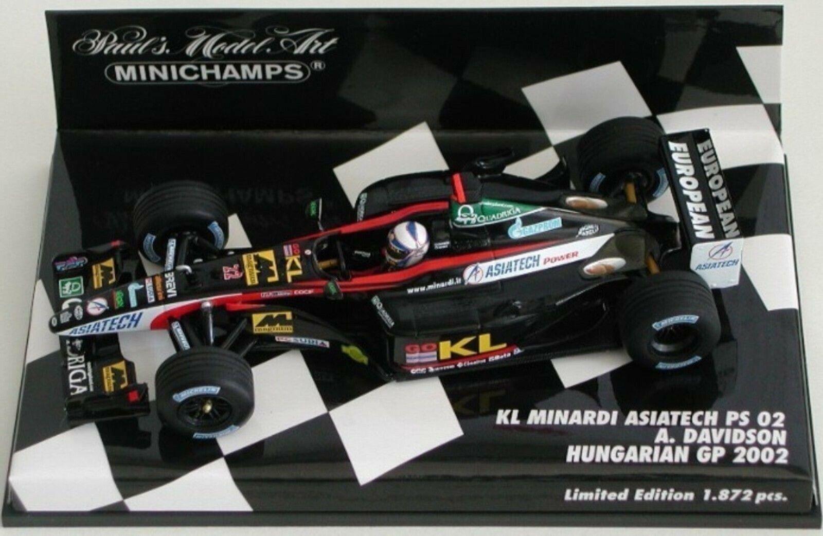 Wow extrêmement extrêmement extrêmement rare MINARDI PS02 Asiatech Davidson Hongrie 2002 1 43 Minichamps b9c98e