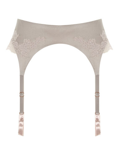 RRP £110.00 M//L BNWT Myla Heritage Silk Suspender Belt in Marble//Granite Pink