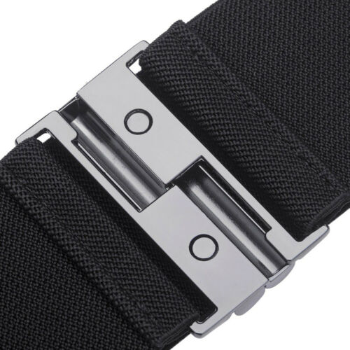 Lady Girl Fashion Black Elasticated Stretchy Belt with Gunmetal Buckle Waistband