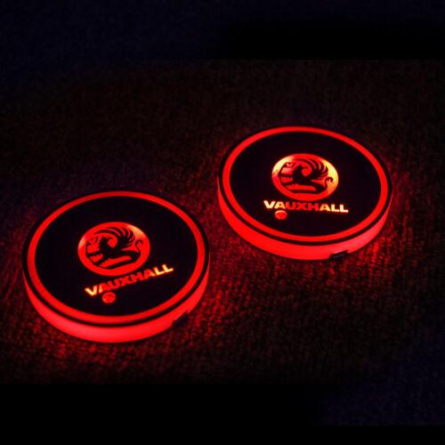 2x Car Van vauxhall LED Cup Holder Lights USB Interior Color Changing Decor Lamp
