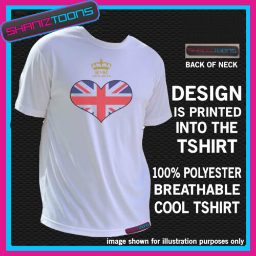 UNION JACK FLAG HEART QUEENS JUBILEE CROWN  COOL SPORTS BREATHABLE TSHIRT