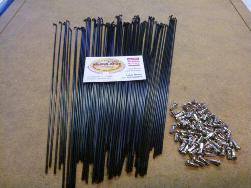 72 Long Black Rays 285x2 mm Complete niples Brass Chrome Bike Vintage