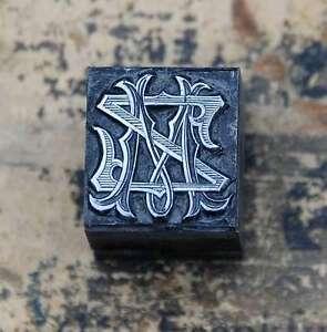 MZ-ZM-Monogramm-Bleisatz-Druckstock-Klischee-Stempel-Buchstabe-Initiale-Vintage