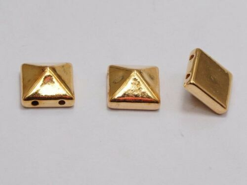 100 Metallic Tone Rock Punk Square Pyramid Rivet Beads Acrylic Studs Beads 10mm