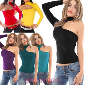 Camiseta-de-mujer-mono-manga-sin-pegar-disco-sueter-mujer-top-blusa-collar-AV778
