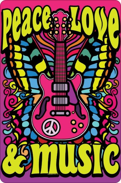 Tin Sign Peace, Love & Music Pink 10 x 15cm