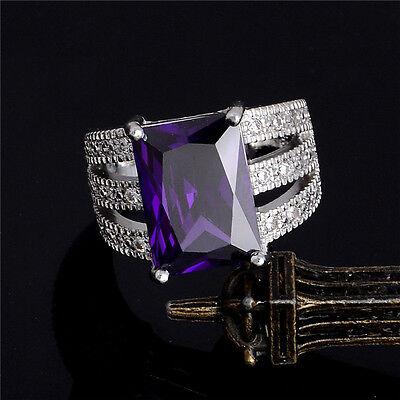 silver Purple cubic zirconia Charming Nice Women's Ring Size 7-9