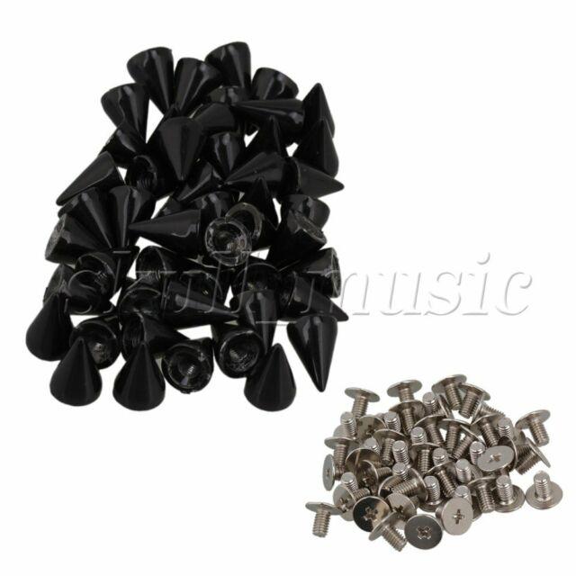 50pcs Black Spots Cone Screw Metal Studs Leather Craft Rivet Pyramid Spikes DIY