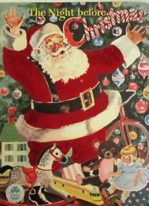 CR 1949 THE NIGHT BEFORE CHRISTMAS Merrill Co Linen Book Fuzzy Santa Claus