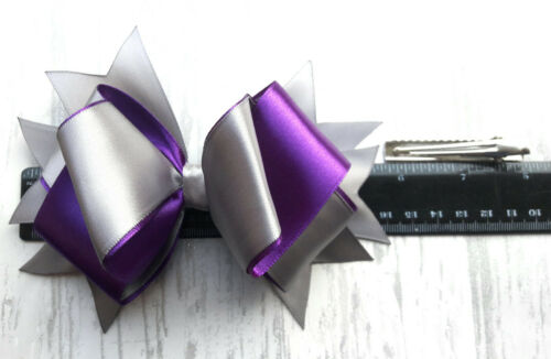 "GREY and PURPLE HANDMADE LARGE 5.5/"" HAIR RIBBON BOW GIRLS  ALLIGATOR CLIP"