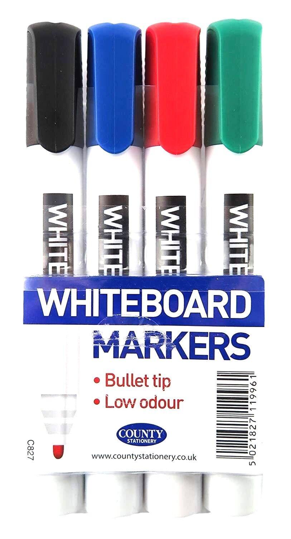 4 x Dry Wipe Pens Bullet Tip Premium Slim Marker Pens White Board All Black Ink