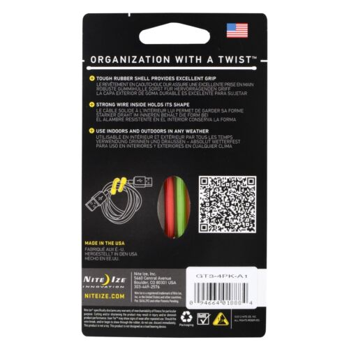 "Nite Ize Gear Tie 3/"" Assorted 4-Pack Reusable Rubber Twisty Ties Organizers"