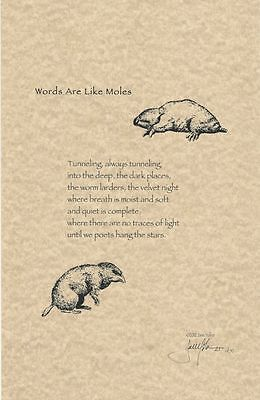 Jane Yolen Signed Limited Edition Poetry Broadside - 'Words Are Like Moles'  | eBay