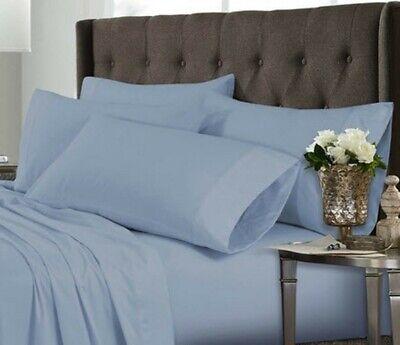 (1) Luxor Style Bambù Federa 300 Fili ~ Blu ~ King Size 21 X 40 Nuovo Piacevole Al Palato