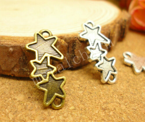 50//260pc Wholesal DIY Tibetan Silver Five-pointed star Connector Charms 20x8mm H