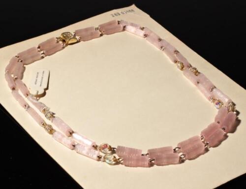 Vintage 2 strand necklace pink pentagon satin atlas AB crystal Czech glass beads