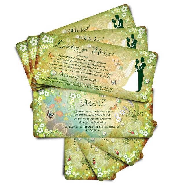 Einladung zur Hochzeit • Märchenhochzeit - grün • Eintrittskarte • Ticket
