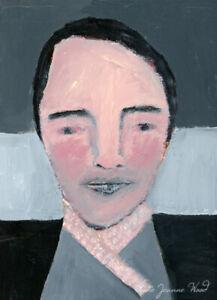 Original Pale Boy Pink Scarf Gray Portrait Painting Katie Jeanne Wood