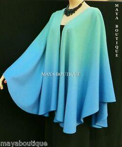 Cashmere-Cape-Ruana-Wrap-Hand-Dyed-Light-Blue-amp-Misty-Jade-Ombre-Maya-Matazaro