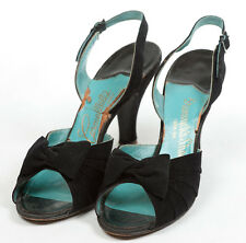 40s 'Carmelletes' Original Black Shoes with Folded Detail and Bow Feature