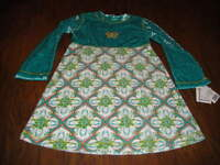 Boutique Mis Tee V-us 5/6 Green Floral Dress Butterfly
