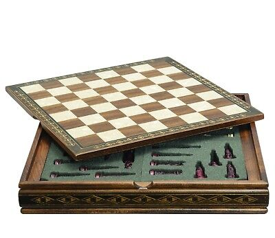 """CHESS BOARD HAND CRAFTED SOLID WALNUT WOOD /""""HELENA/"""" MOTHER OF PEARL 17/""""-2654W"""