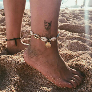Natural-Sea-Shell-Bead-Anklet-Cord-Bracelet-Chain-Boho-Surf-Foot-Bangle-Jewelry
