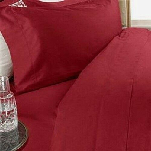 Red Solid 4 Piece Sheet Set Choose Sizes 1000 Thread Count Pure Egyptian Cotton