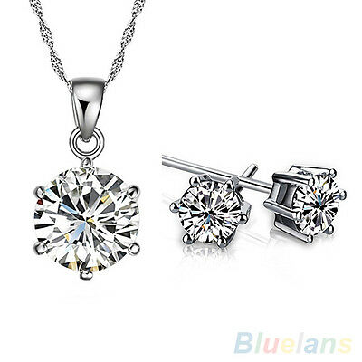 Women Girl Lady Wedding Zircon Pendant Chain Necklace Stud Earrings Unique Set