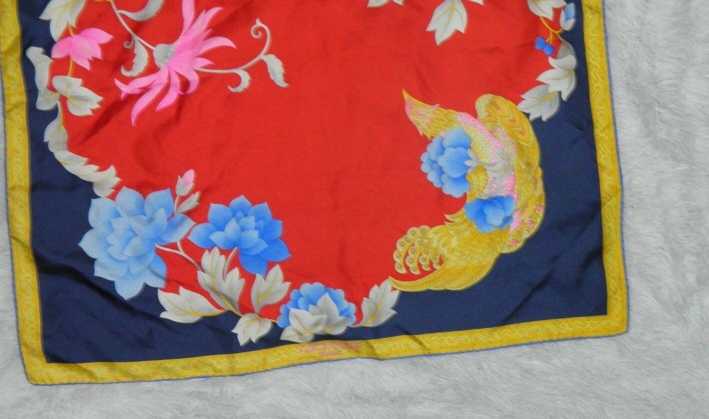 LEONARD PARIS SCARF SILK  BIG  FLORAL RED BLUE PI… - image 9