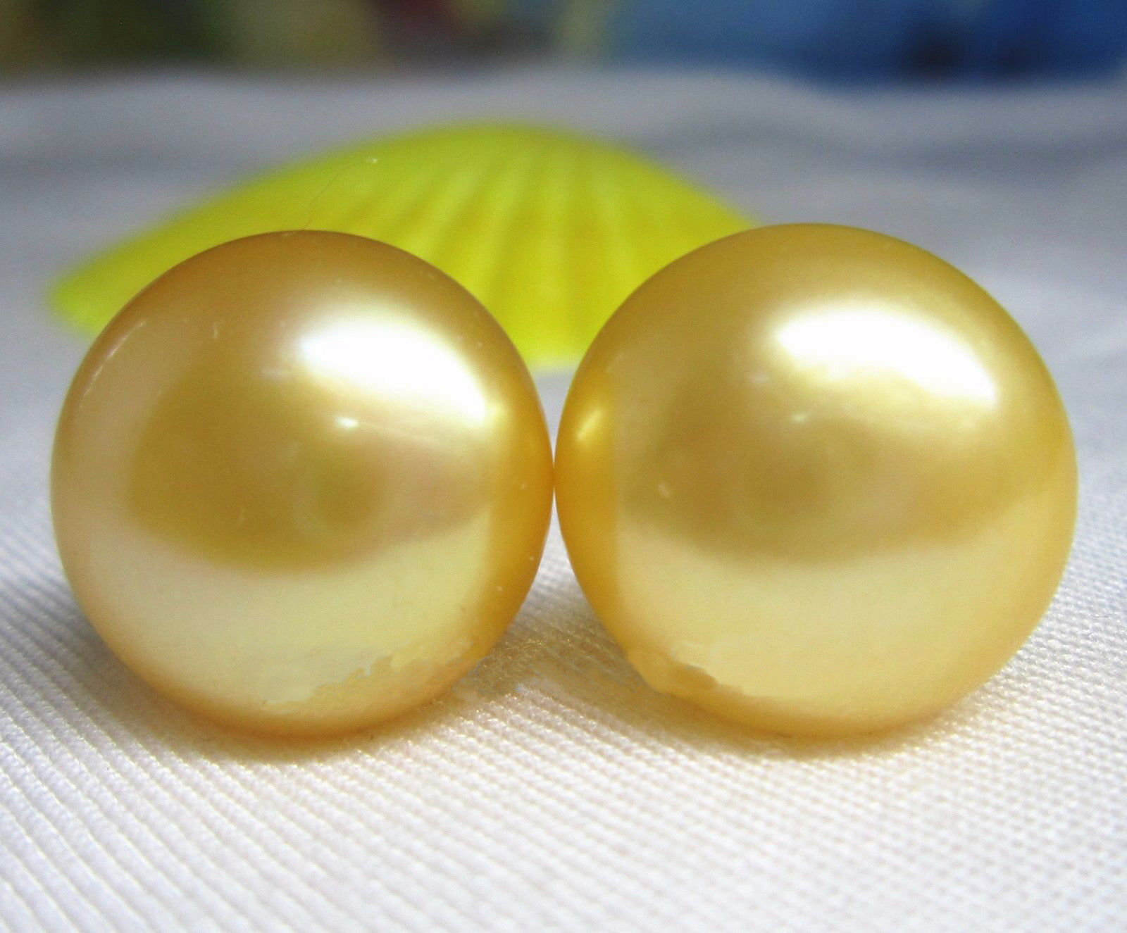 AAA 7-8mm natural south sea gold bread pearl stud earrings 18k Yellow gold