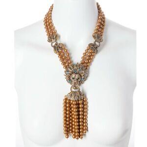 Heidi-Daus-Lion-Queen-Necklace-3-Strand-Tassel-Crystal-Necklace-GOLD-VERSION