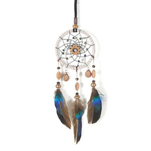Mini-Dream-Catcher-For-Car-Beaded-Natural-Feathers-And-Handmade-P4B2