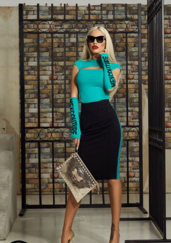 By Alina Damenrock Stretchrock Pencilrock High-Waist Rock Print fashion XS-M