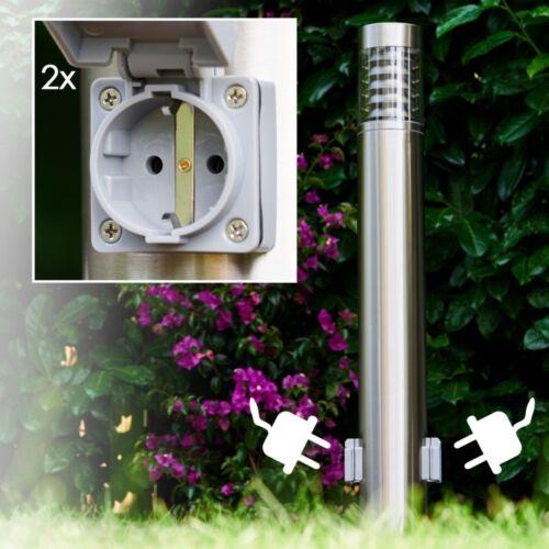 Wege Leuchte mit 2 Steckdosen Edelstahl Hof Lampen Garten Aussen Stehleuchten