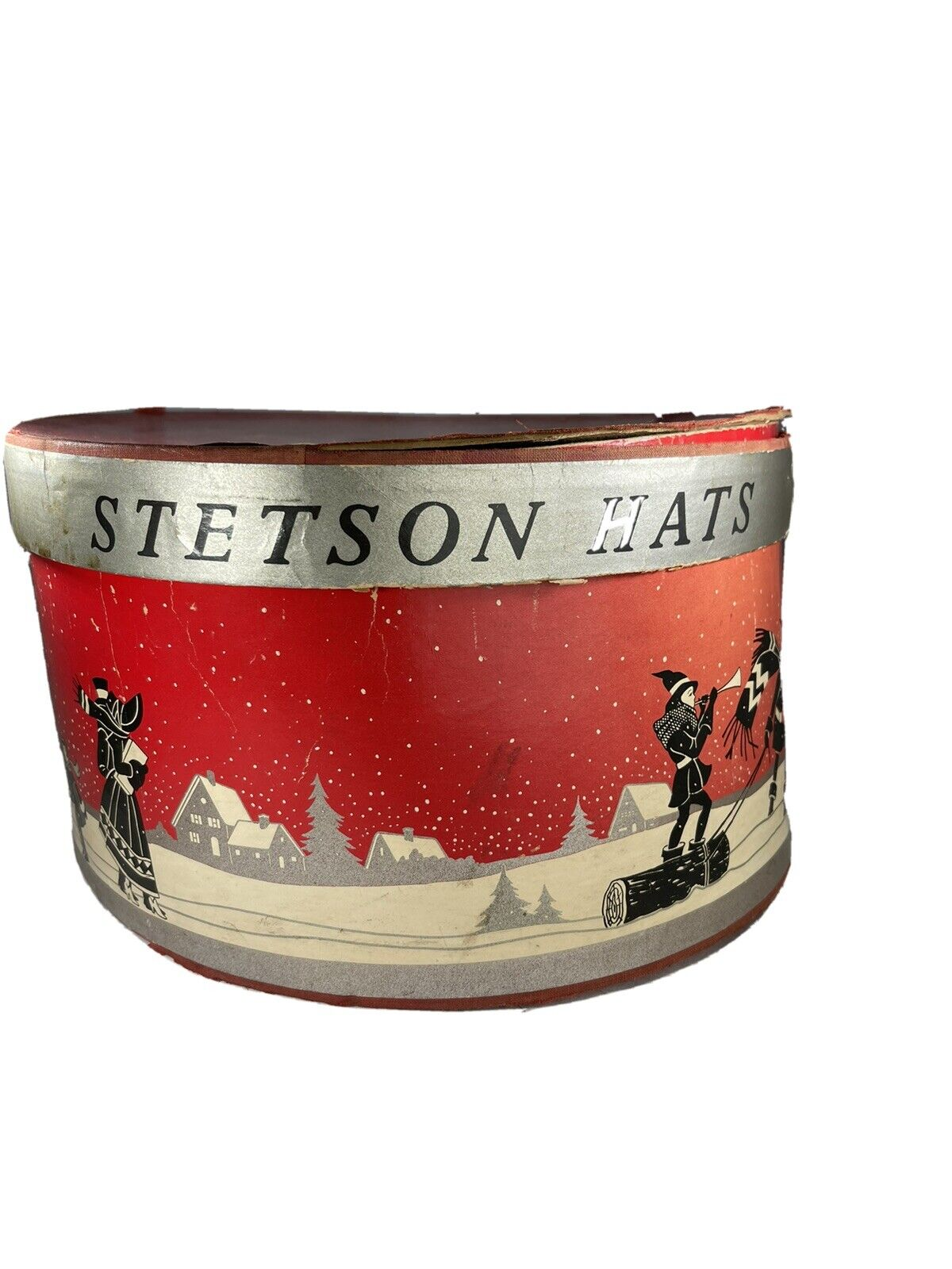 Vintage Stetson Hat Box Holiday Scene With Insert 16.5x14.5 x8.5 Inches