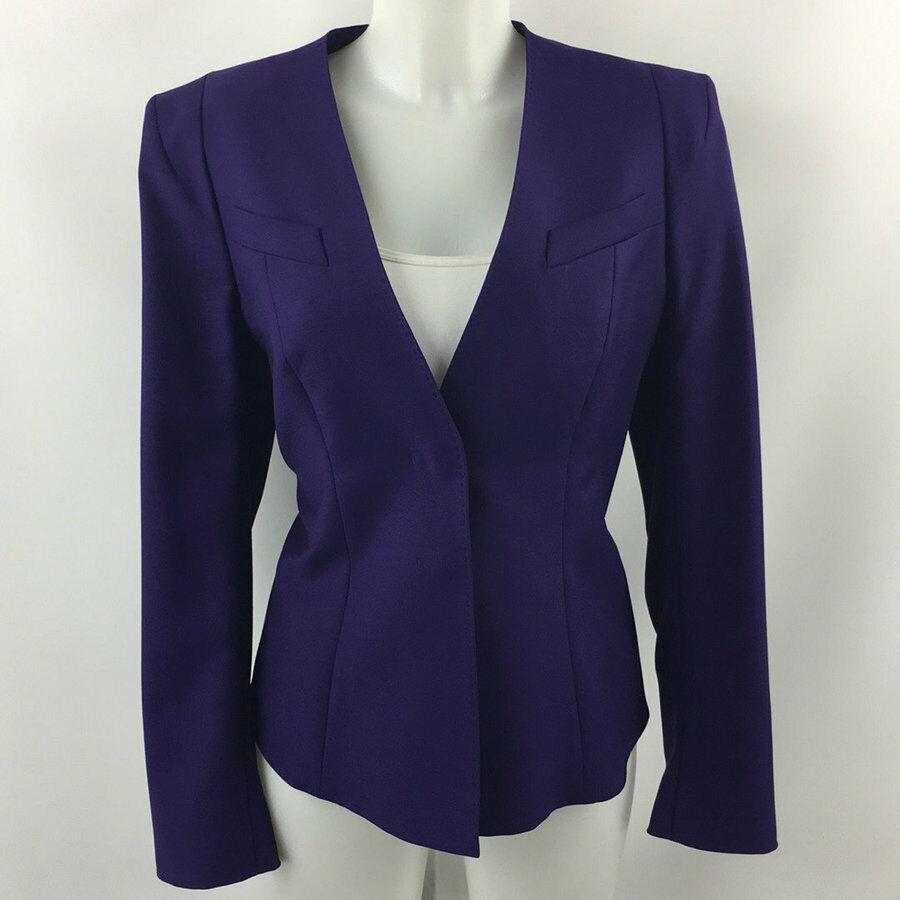 Escada Purple Hidden Button Closure Blazer Size 40 10