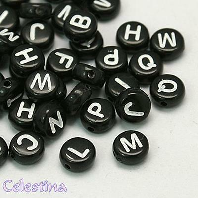 100 x 7mm White /& Black Mixed Number Beads 10 of each Number per order