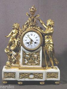 1820-1840 Gilt Bronze & White Marble Clock Gilt Lady Gilt Cherubs Really Super Antiques